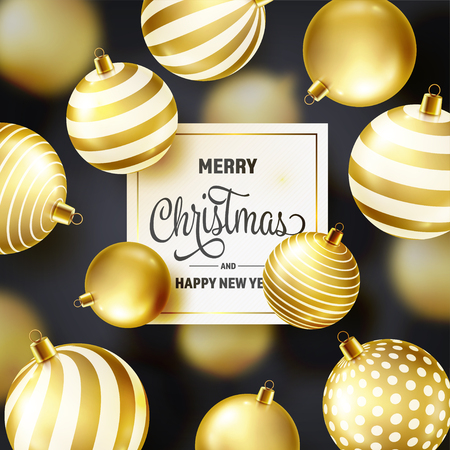 Christmas Background With Tree Balls. Golden Ball. New Year. Winter holidays. Season Sale Decoration. Gold Xmas Gift Illusztráció