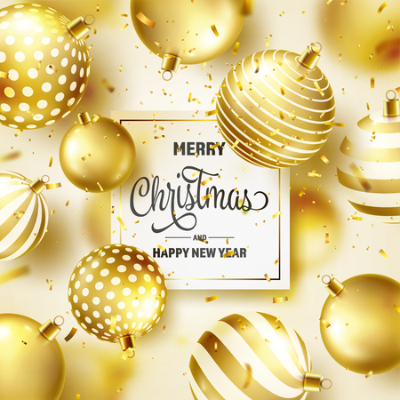 Christmas Background With Tree Balls, Ribbon And Confetti. Golden Ball. New Year. Winter holidays. Season Sale Decoration. Gold Xmas Gift Stock fotó - 115591147