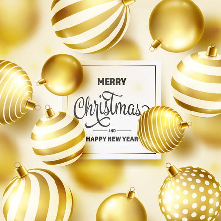 Christmas Background With Tree Balls. Golden Ball. New Year. Winter holidays. Season Sale Decoration. Gold Xmas Gift Stock fotó - 115591148