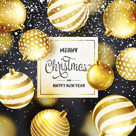 Christmas Background With Tree Balls And Snow. Golden Ball. New Year. Winter holidays. Season Sale Decoration. Gold Xmas Gift Stock fotó - 115591153