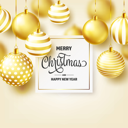 Christmas Background With Tree Balls. Golden Ball. New Year. Winter holidays. Season Sale Decoration. Gold Xmas Gift. Stock fotó - 112304110