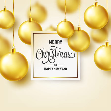 Christmas Background With Tree Balls. Golden Ball. New Year. Winter holidays. Season Sale Decoration. Gold Xmas Gift. Stock fotó - 112304111