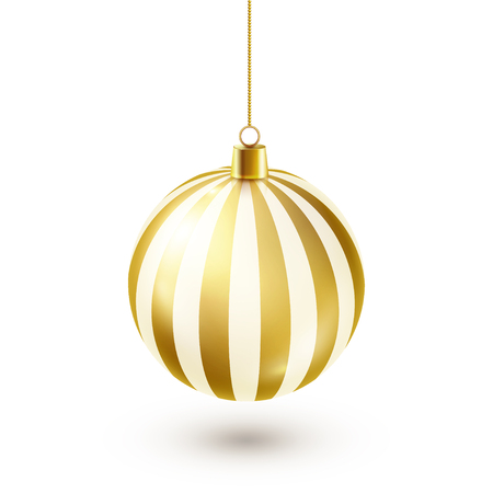 Christmas Tree Shiny Golden Ball. New Year Decoration. Winter Season. December Holidays. Greeting Gift Card Or Banner Element