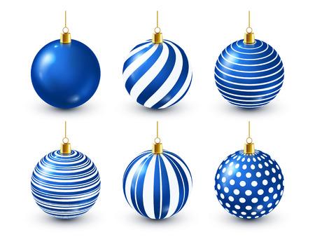 Set de bolas azules brillantes de árbol de Navidad. Decoración de año nuevo. Temporada de invierno. Vacaciones de diciembre. Tarjeta de regalo de felicitación o elemento de banner