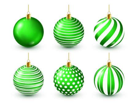 Christmas Tree Shiny Green Balls Set. New Year Decoration. Winter Season. December Holidays. Greeting Gift Card Or Banner Element
