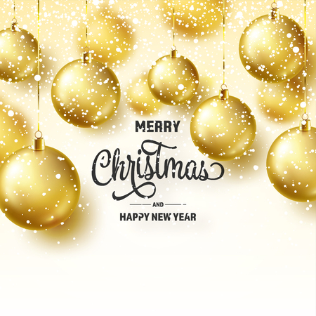 Christmas Background With Tree Balls And Snow. Golden Ball. New Year. Winter holidays. Season Sale Decoration. Gold Xmas Gift