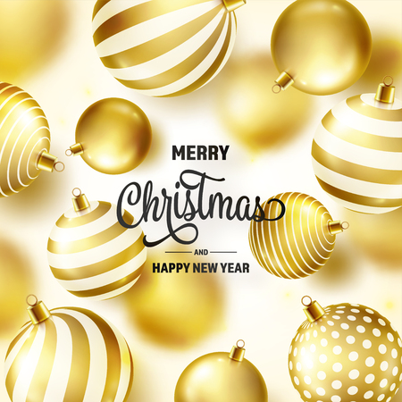 Christmas Background With Tree Balls. Golden Ball. New Year. Winter holidays. Season Sale Decoration. Gold Xmas Gift  イラスト・ベクター素材