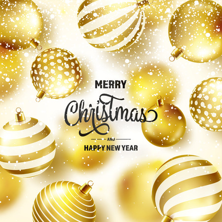 Christmas Background With Tree Balls And Snow. Golden Ball. New Year. Winter holidays. Season Sale Decoration. Gold Xmas Gift Stock fotó - 115591203