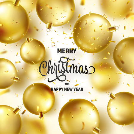 Christmas Background With Tree Balls, Ribbon And Confetti. Golden Ball. New Year. Winter holidays. Season Sale Decoration. Gold Xmas Gift Stock fotó - 115591204