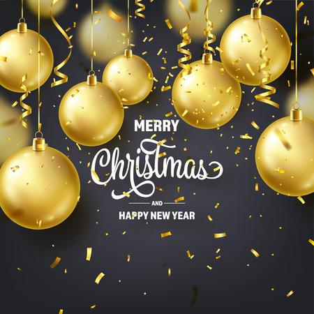 Fond De Noël Avec Des Boules D'arbres, Du Ruban Et Des Confettis. Ballon d'Or. Nouvel An. Vacances d'hiver. Décoration de vente de saison. Cadeau de Noël en or Vecteurs