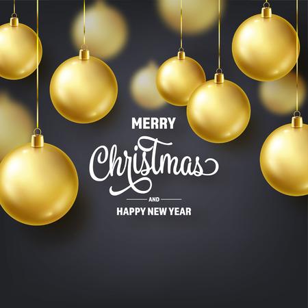 Christmas Background With Tree Balls. Golden Ball. New Year. Winter holidays. Season Sale Decoration. Gold Xmas Gift Illustration