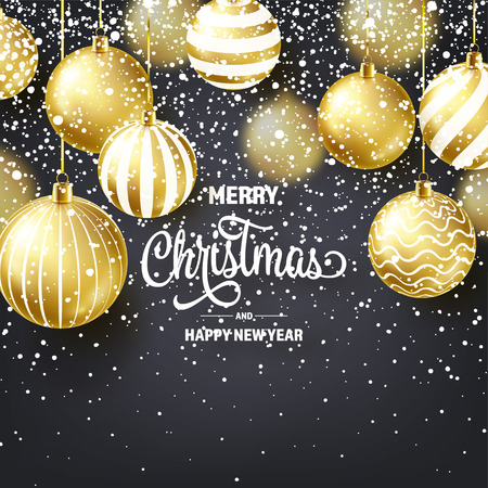 Christmas Background With Tree Balls And Snow. Golden Ball. New Year. Winter holidays. Season Sale Decoration. Gold Xmas Gift.