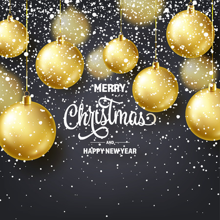 Christmas Background With Tree Balls And Snow. Golden Ball. New Year. Winter holidays. Season Sale Decoration. Gold Xmas Gift. Stock fotó - 112713472