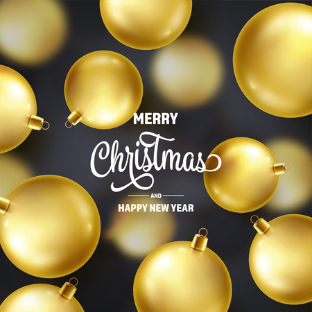 Christmas Background With Tree Balls. Golden Ball. New Year. Winter holidays. Season Sale Decoration. Gold Xmas Gift Stock fotó - 115591212