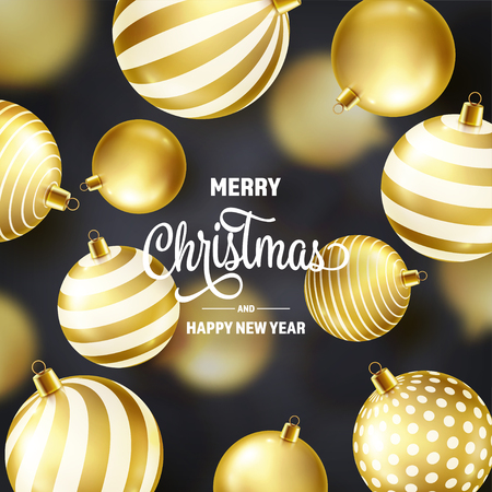 Christmas Background With Tree Balls. Golden Ball. New Year. Winter holidays. Season Sale Decoration. Gold Xmas Gift Stock fotó - 112713475