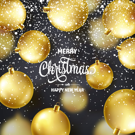 Christmas Background With Tree Balls And Snow. Golden Ball. New Year. Winter holidays. Season Sale Decoration. Gold Xmas Gift Stock fotó - 112713476