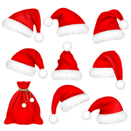 Christmas Santa Claus Hats With Fur Set, Bag, Sack. New Year Red Hat Isolated on White Background. Winter Cap. Vector illustration