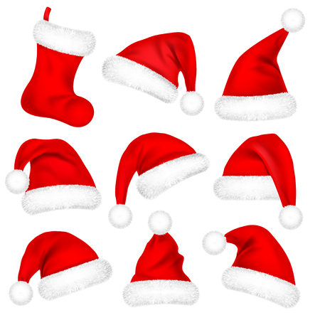 Christmas Santa Claus Hats With Fur Set, Sock. New Year Red Hat Isolated on White Background. Winter Cap. Vector illustration