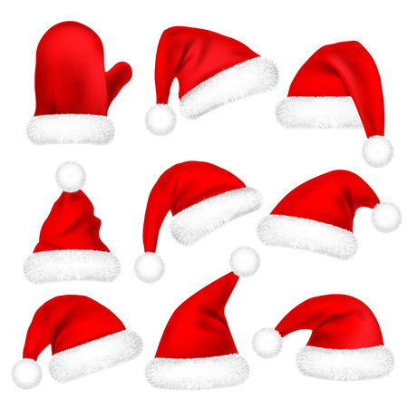 Christmas Santa Claus Hats With Fur Set, Mitten. New Year Red Hat Isolated on White Background. Winter Cap. Vector illustration