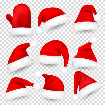 Christmas Santa Claus Hats With Fur Set, Mitten. Xmas, New Year Red Hat With Shadow. Vector illustration