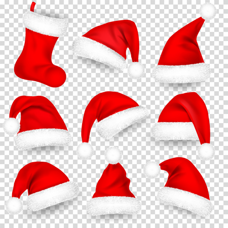 Christmas Santa Claus Hats With Fur Set, Sock. Xmas, New Year Red Hat With Shadow. Winter Cap. Vector illustration