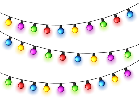 Christmas glowing lights on white background. Garlands with colored bulbs. Xmas holidays. Christmas greeting card design element. New year,winter