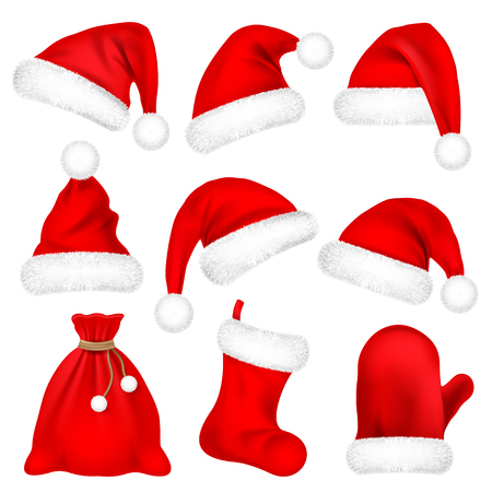Christmas Santa Claus Hats With Fur Set, Mitten, Bag, Sock. New Year Red Hat Isolated on White Background. Winter Cap. Vector illustration