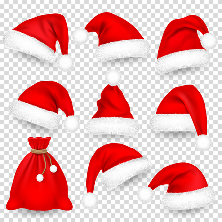 Christmas Santa Claus Hats With Fur Set, Bag, Sack. Xmas, New Year Red Hat With Shadow. Winter Cap. Vector illustration
