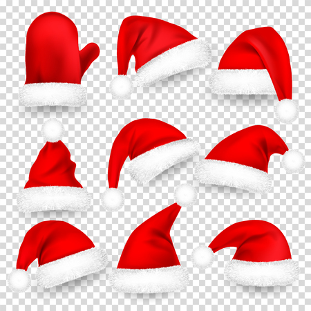 Christmas Santa Claus Hats With Fur Set, Mitten. Xmas, New Year Red Hat With Shadow. Vector illustration. Stock Photo