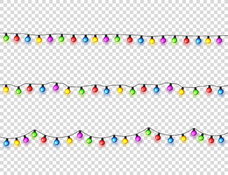 Christmas glowing lights. Garlands with colored small bulbs. Xmas holidays. Christmas greeting card design element. New year,winter.