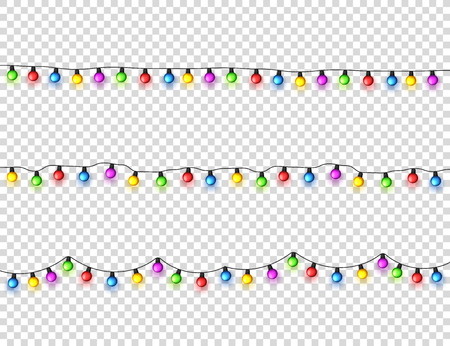Christmas glowing lights. Garlands with colored small bulbs. Xmas holidays. Christmas greeting card design element. New year,winter