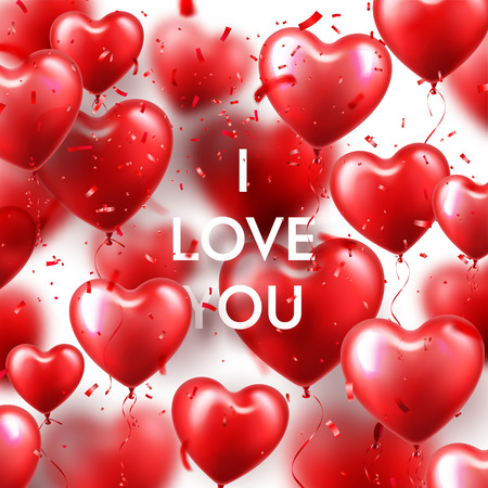 Valentines Day Background With Red Heart Balloons And Confetti. Romantic Wedding Love Greeting Card. February 14
