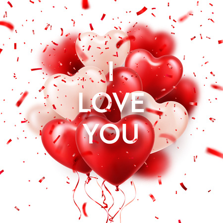 Valentines Day Background With White Red Heart Balloons And Confetti. Romantic Wedding Love Greeting Card. February 14