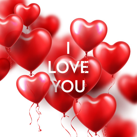 Valentines Day Background With Red Heart Balloons. Romantic Wedding Love Greeting Card. February 14