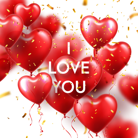 Valentines Day Background With Red Heart Balloons And Golden Confetti. Romantic Wedding Love Greeting Card. February 14