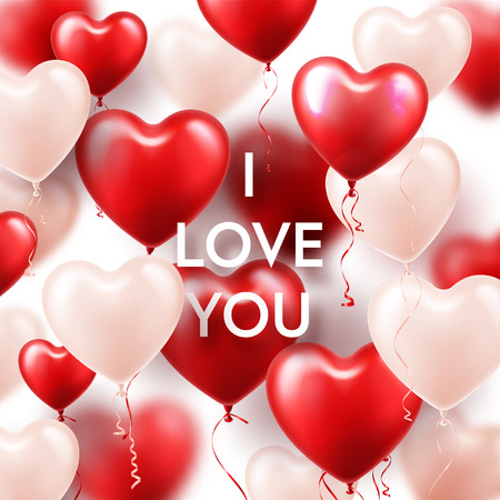 Valentines Day Background With White Red Heart Balloons. Romantic Wedding Love Greeting Card. February 14