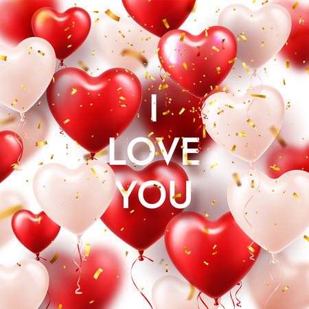 Valentines Day Background With White Red Heart Balloons and Golden Confetti. Romantic Wedding Love Greeting Card. February 14