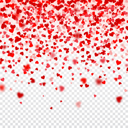 Valentines Day Falling Red Blurred Hearts On White Background. Heart Shaped Paper Confetti. February 14 Greeting Card