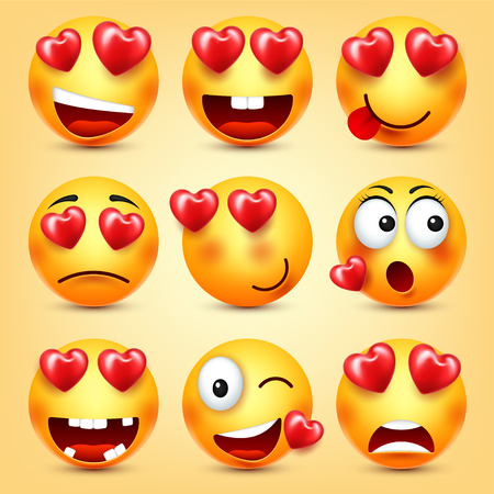 Emoji Smiley With Red Heart Vector Set. Valentines Day Yellow Cartoon Emoticons Face. Love Feeling Expression