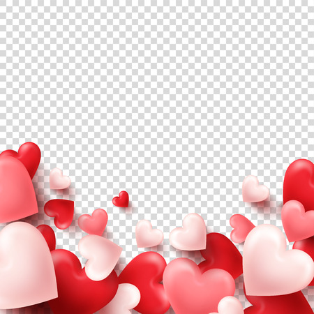 Valentines day abstract background. White, red, pink 3d heart. February 14, love. Romantic wedding greeting card Illustration