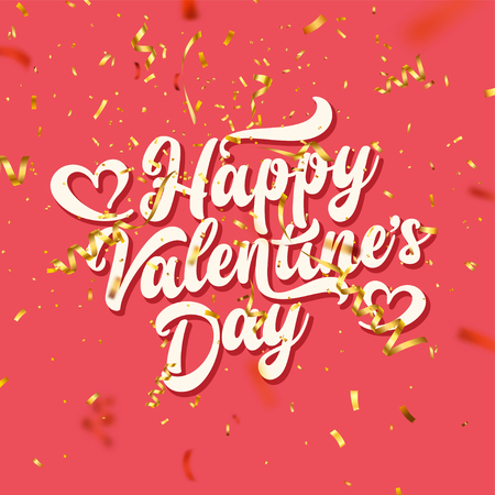 Valentines Day Love Oblique Lettering With Golden Confetti. February 14 Handwritten Romantic Greeting Card Text. Vector Illustration.