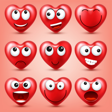 Heart smiley emoji vector set for Valentines Day. Funny red face with expressions and emotions. Love symbol