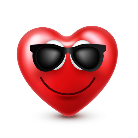 Heart smiley emoji vector for Valentines Day. Funny red face with expressions and emotions. Love symbol