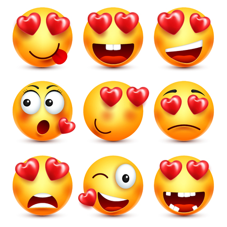Smiley Emoji With Red Heart Vector Set. Valentines Day Yellow Cartoon Emoticons Face. Love Feeling Expression