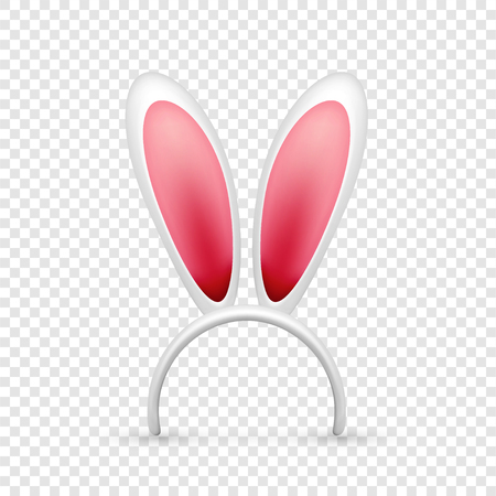 Easter bunny ears. Pink and white mask with rabbit ear. Spring seasonal cute hat. April, March holidays Illustration