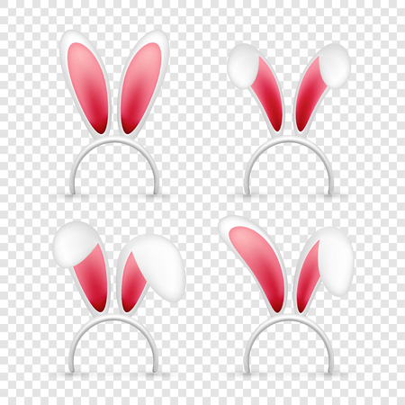 Easter bunny ears. Pink and white mask with rabbit ear. Spring seasonal cute hat. April, March holidays