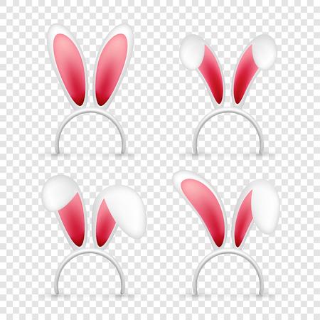 Oreilles de lapin de Pâques. Masque rose et blanc avec oreille de lapin. Chapeau mignon de saison de printemps. Vacances d'avril, mars
