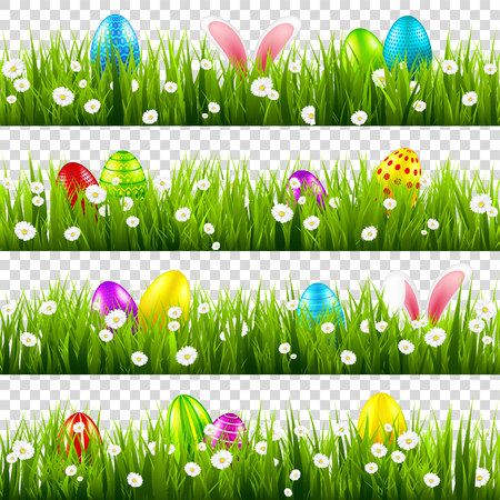 Easter eggs on grass with bunny rabbit ears set. Spring holidays in April. Sunday seasonal celebration with egg hunt 版權商用圖片 - 117086527