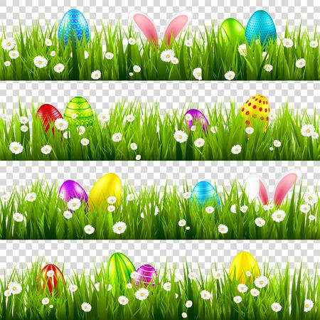 Uova di Pasqua sull'erba con set di orecchie di coniglio coniglietto. Vacanze primaverili ad aprile. Festa stagionale della domenica con caccia alle uova