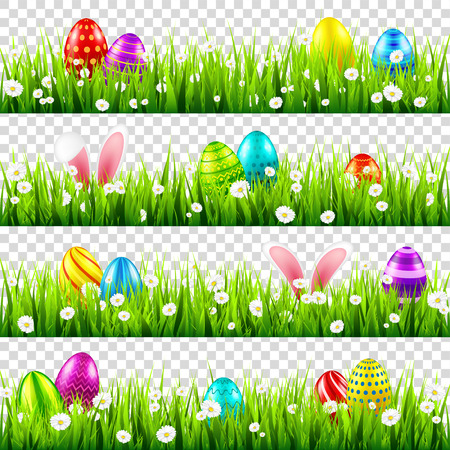 Easter eggs on grass with bunny rabbit ears set. Spring holidays in April. Sunday seasonal celebration with egg hunt